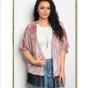 Sweaters - 'Over It' Blush Fringe Kimono (CURVY)